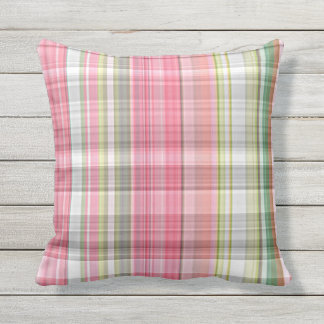 Cute Pastel Pink Green Retro Tartan Plaid Pattern Throw Pillow