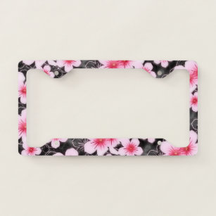 White And Pink Floral License Plate Frames Covers Zazzle