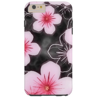 Cute Pastel Pink Hibiscus Floral Pattern On Black Tough iPhone 6 Plus Case