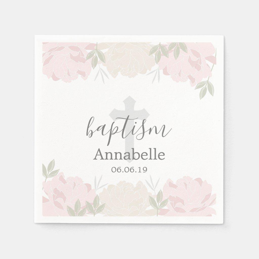 Cute Pastel Pink Peonies Baby Baptism Napkin