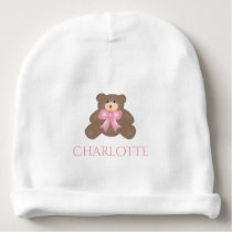 Cute Pastel Pink Ribbon Sweet Teddy Bear Baby Girl Baby Beanie