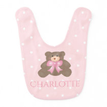 Cute Pastel Pink Ribbon Sweet Teddy Bear Baby Girl Baby Bib