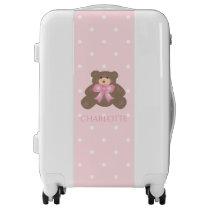 Cute Pastel Pink Ribbon Sweet Teddy Bear Baby Girl Luggage