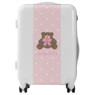 Cute Pastel Pink Ribbon Sweet Teddy Bear Baby Girl Luggage