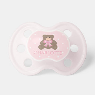 Cute Pastel Pink Ribbon Sweet Teddy Bear Baby Girl Pacifier