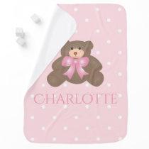 Cute Pastel Pink Ribbon Sweet Teddy Bear Baby Girl Stroller Blanket