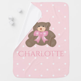 Cute Pastel Pink Ribbon Sweet Teddy Bear Baby Girl Stroller Blanket
