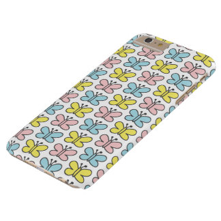Cute Pastel Pink Yellow Blue Butterflies on White Barely There iPhone 6 Plus Case
