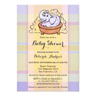 Cute Pastel Plaid Elephant Baby Shower Invitation