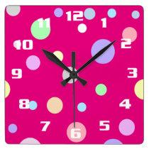 Cute Pastel Polka Dot Pattern Square Wall Clock