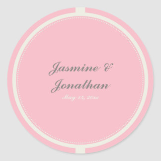 CUTE PASTEL POLKADOTS AND RIBBONS PINK CLASSIC ROUND STICKER