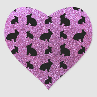 Cute pastel purple bunny glitter pattern heart sticker