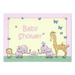 Cute Pastel Safari Animal Baby Shower Invites