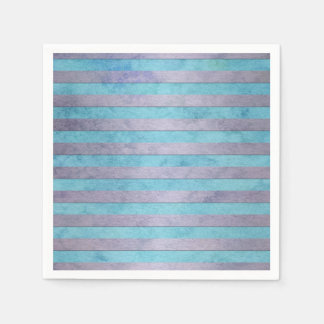 Cute Pastel Stripes Pattern in Light Blue and Teal Disposable Napkins