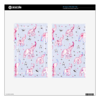 Cute Pastel Tone Elephants Stars Pattern Decal For Kindle Fire