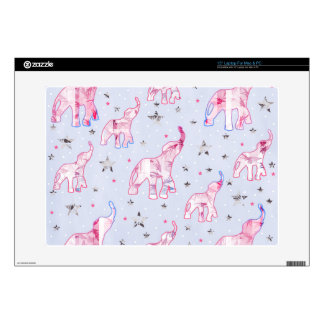 "Cute Pastel Tone Elephants Stars Pattern Skins For 15"" Laptops"