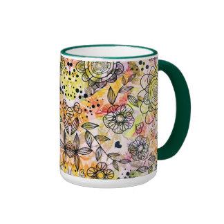 Cute Pastel Tones Floral Design Doodle Style Ringer Coffee Mug