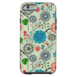 Cute Pastel Tones Retro Flowers & Birds Green Tint Tough iPhone 6 Case