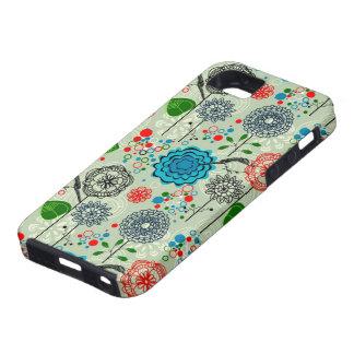 Cute Pastel Tones Retro Flowers & Birds Green Tint iPhone 5 Cover