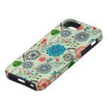 Cute Pastel Tones Retro Flowers & Birds Green Tint iPhone SE/5/5s Case