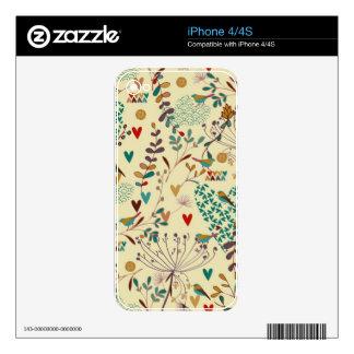 Cute Pastel Tones Retro Flowers, Birds & Hearts iPhone 4 Decal