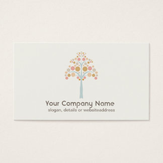 Cute Pastel Tree Off White Business Card