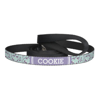 Cute pastel turquoise floral pattern monogram dog leads