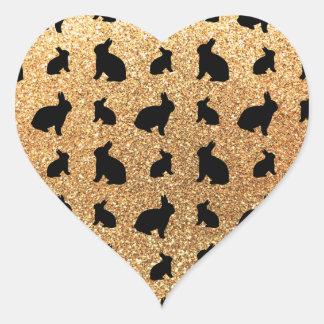 Cute pastel yellow bunny glitter pattern heart stickers