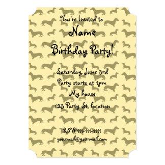 Cute pastel yellow dachshund pattern 5x7 paper invitation card