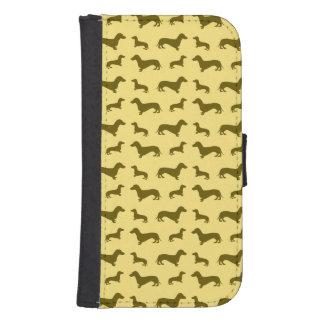 Cute pastel yellow dachshund pattern galaxy s4 wallet