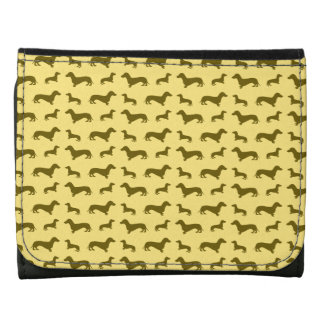 Cute pastel yellow dachshund pattern leather trifold wallets