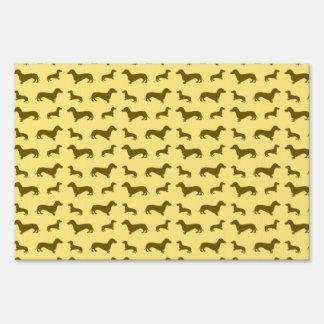 Cute pastel yellow dachshund pattern signs