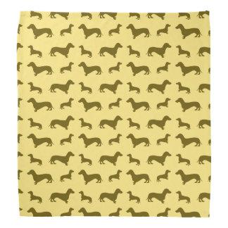 Cute pastel yellow dachshund pattern bandanna