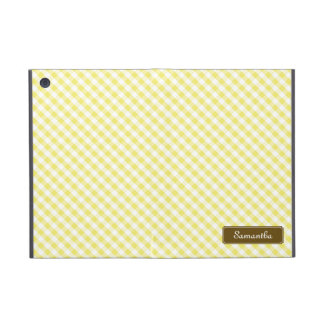 Cute Pastel Yellow Gingham Pattern iPad Mini Cases