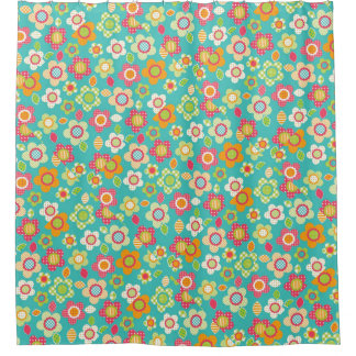 Cute Patchwork Flowers Girly Pattern Shower Curtain