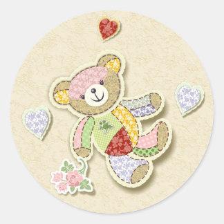Cute Patchwork Teddy Round Sticker