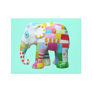 Cute patchwork toy elephant kids retro whimsical canvas print