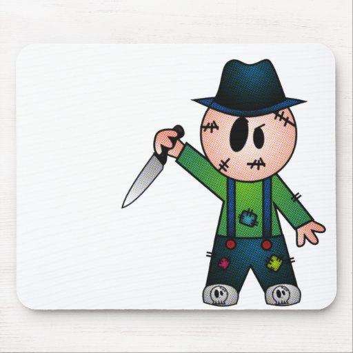 CUTE PATCHY KNIFE-WIELDING KILLER MOUSE PAD