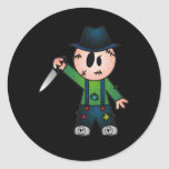 CUTE PATCHY KNIFE-WIELDING KILLER CLASSIC ROUND STICKER