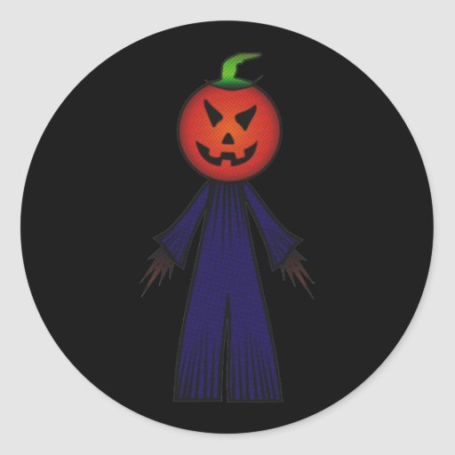 CUTE PATCHY PUMPKINHEAD SCARECROW ROUND STICKER
