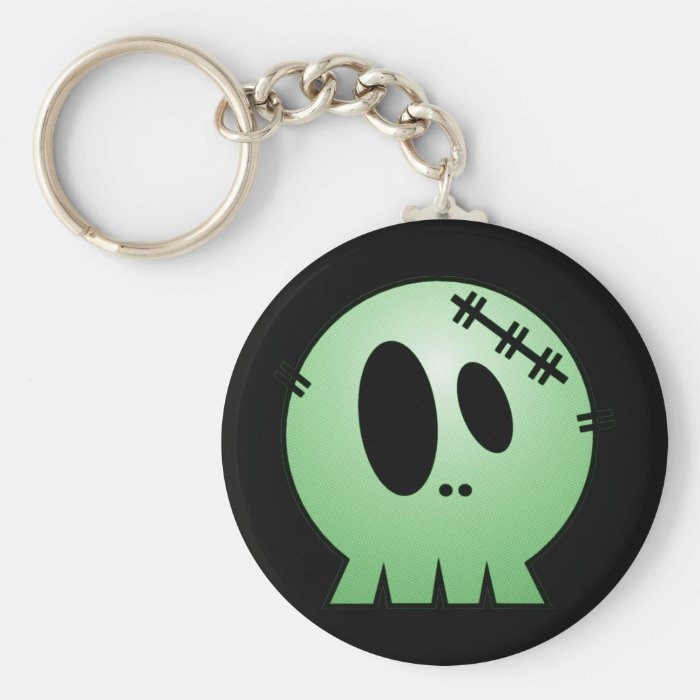 CUTE PATCHY SKULL - GREEN KEYCHAIN