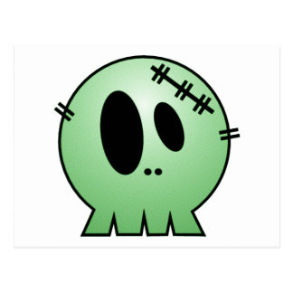 CUTE PATCHY SKULL - GREEN POSTCARD