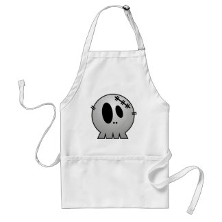 CUTE PATCHY SKULL - GREY BW ADULT APRON