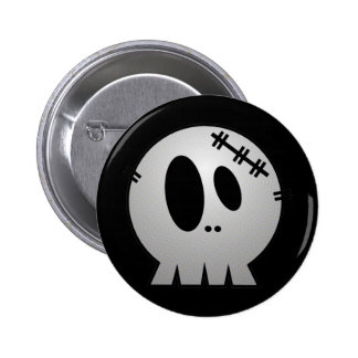 CUTE PATCHY SKULL - GREY BW 2 INCH ROUND BUTTON
