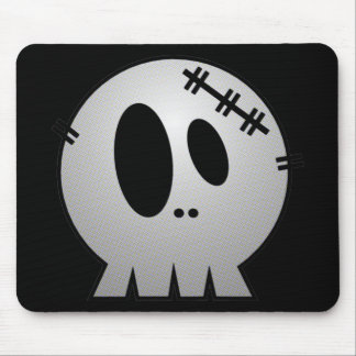 CUTE PATCHY SKULL - GREY BW MOUSE PAD