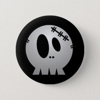 CUTE PATCHY SKULL - GREY BW PINBACK BUTTON