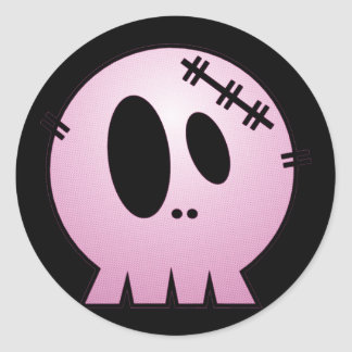 CUTE PATCHY SKULL - PINK CLASSIC ROUND STICKER