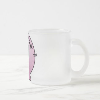 CUTE PATCHY SKULL - PINK FROSTED GLASS COFFEE MUG