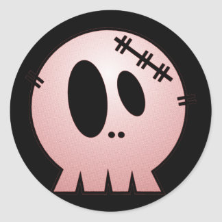 CUTE PATCHY SKULL - RED CLASSIC ROUND STICKER