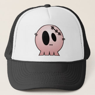 CUTE PATCHY SKULL - RED TRUCKER HAT